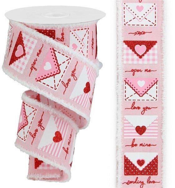"""2.5""""X10yd Love Letters/Royal/Drift Color: Pale Pink/White/Red/Pink"""