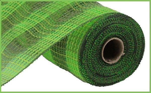 "10.5""X10yd Faux Jute/Pp Small Check Fresh Green/Moss"