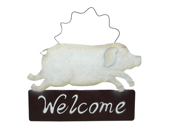 Metal Piglet Welcome Sign W15Xh10.5