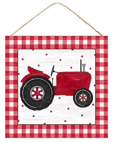 """10""""Sq Tractor/Gingham Sign"""