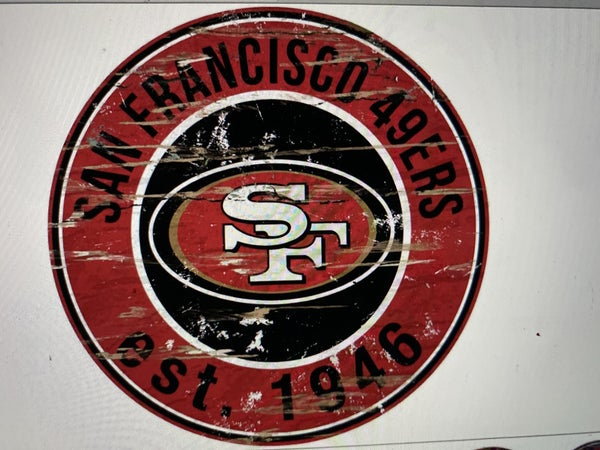 "12"" Destressed Wooden NFL Circle Sign - San Francisco 49ERS"