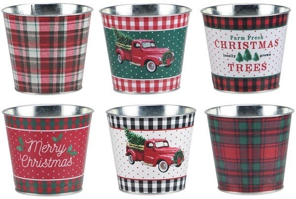 "5""Diax4.5""H Christmas Pot,Waterproof Set of 6 Assortment"
