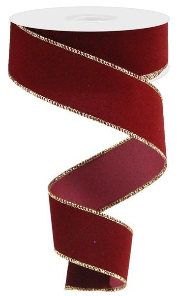 "1.5""X10yd Indoor Velvet Ribbon Cranberry/Gold"