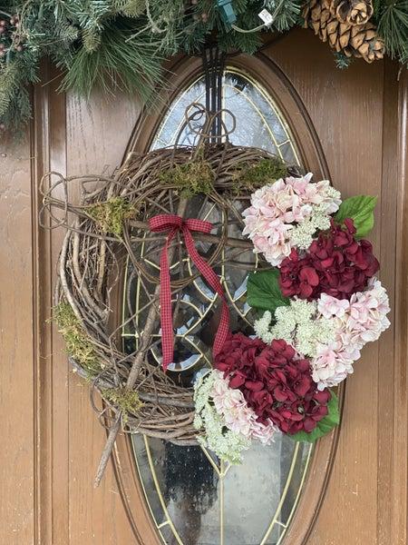 Zack's Hydrangea Cross Wreath