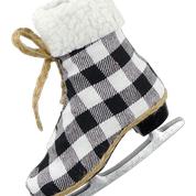 Orn Plaid Ice Skate w Faux Fur H7  Black/White