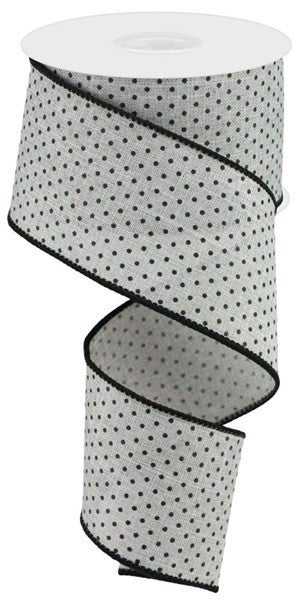 "2.5""X10YD RAISED SWISS DOTS ON ROYAL Color: Lt Grey/Black"