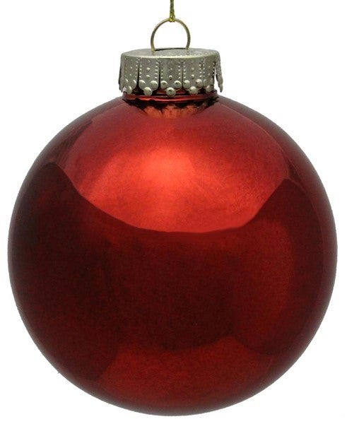 100Mm Seamless Ball Ornament Box of 4 Red