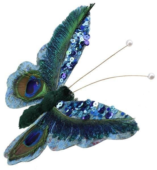 "6""Wx5""H Feather/Sequin Butterfly W/Clip"