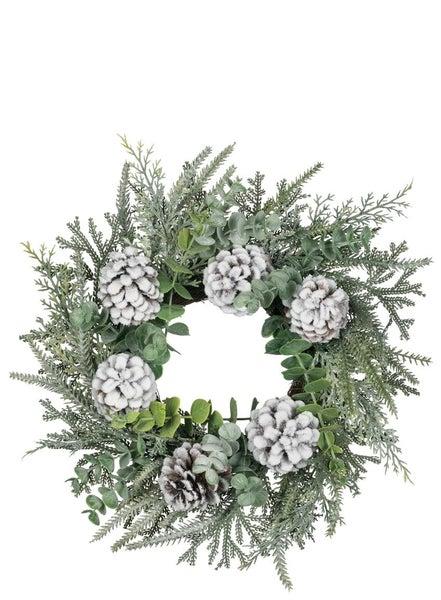 "FLOCKED PINE FOLIAGE CONE Wreath 24"""