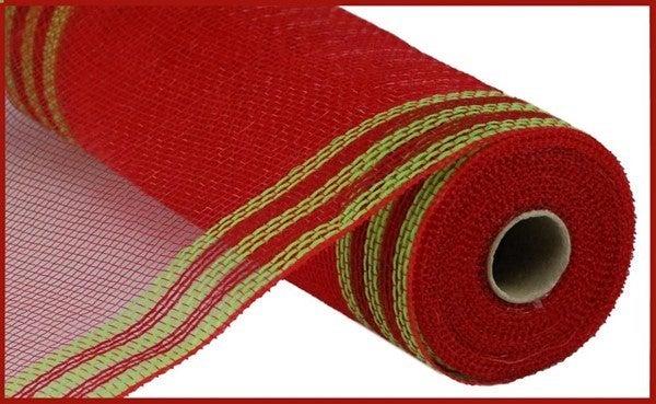 "10.5""X10YD FAUX JUTE/PP/BORDER STRIPE Color: Red/Fresh Green"