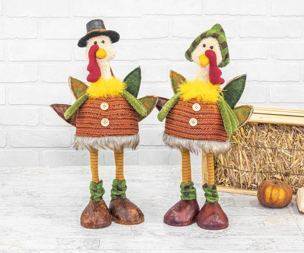 FALL FLANNEL PILGRIM TURKEY BOBBLE BODY STANDER