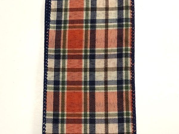 "Dk Orange-Moss-Cream-Navy Plaid 2.5""x10yd"