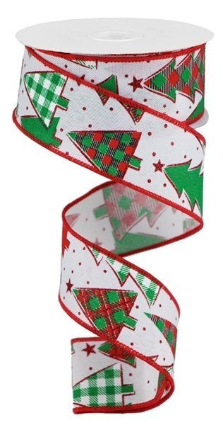 "1.5""X10yd Plaid Trees On Faux Royal Color: White/Red/Emerald"