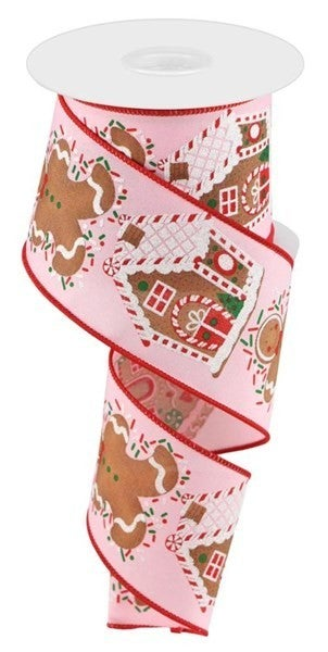 "2.5""X10yd Gingerbread Man/House Light Pink"