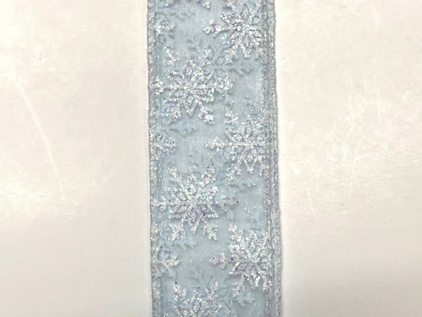"Light Blue Sheer/White Glitter Snowflakes 1.5""x10yd"