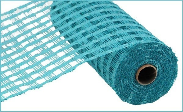 """10""""X10yd Poly Burlap Check Mesh Turquoise"""