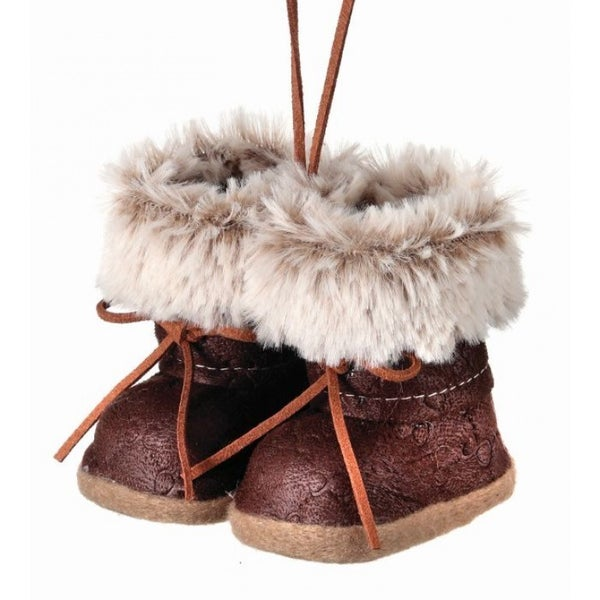 "4"" FEAUX FUR/LEATHER BOOTS ORNAMENT"" (NATURAL BROWN)"