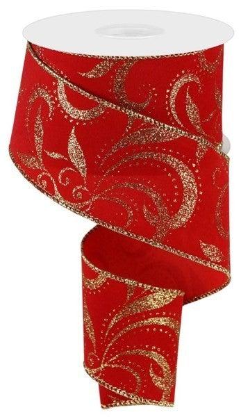 """2.5""""X10yd Glitter Scroll Velvet Red/Gold"""