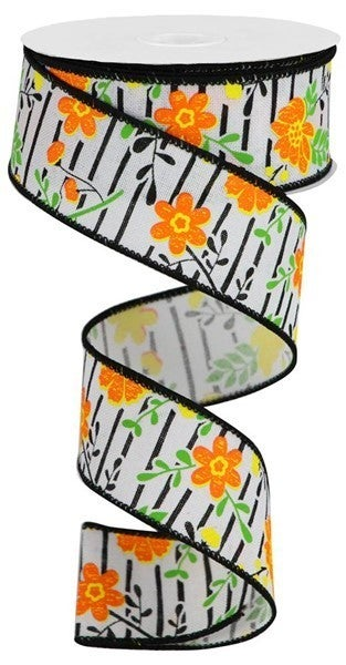 """1.5""""X10yd Floral Lines On Royal White/Orange/Yellow"""