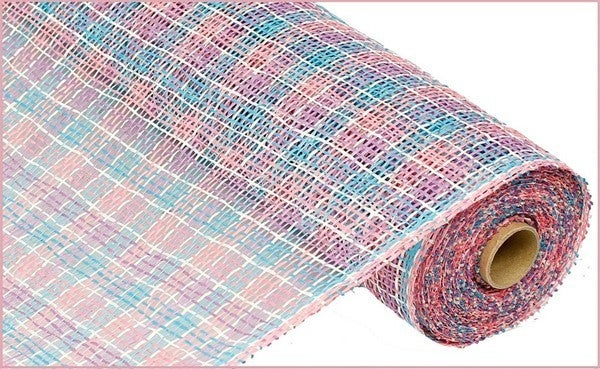 "21""X10yd Poly Burlap Check MeshColor: White/Pink/Lav/Turquoise"