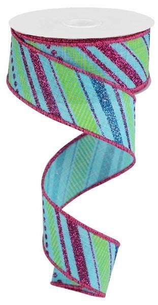 "1.5""X10yd Multi Diagonal Stripes/Royal Color: Lt.Blue/Ht Pink/Turq/Lime"