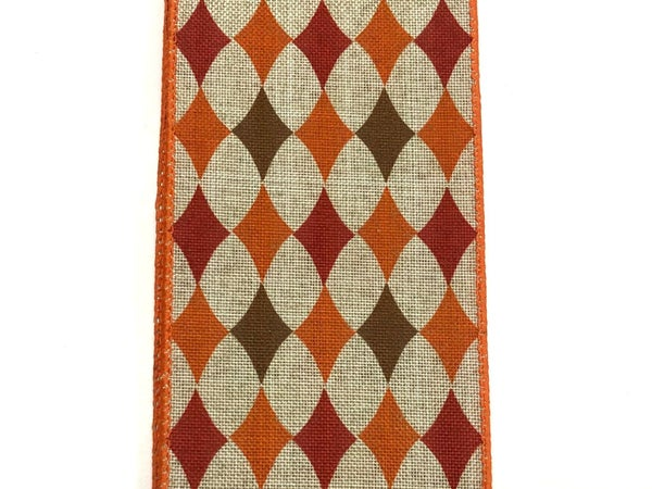 "Natural Linen/Orange-Brown Diamonds 2.5""x10yd"