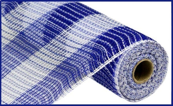 "10.5""X10yd Faux Jute/Pp Large Check Royal Blue/white"