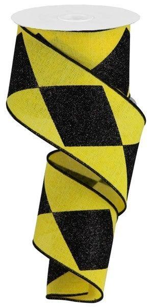 "2.5""X10yd Bold Harlequin On Royal Yellow/Black"