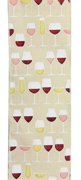 "4""X10yd Wine Glasses On Royal Burlap Color: Cream/Whtgld/Bgdy/Pnk"