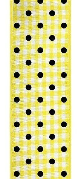 "1.5""X10yd Polka Dot Gingham  Yellow/White/Black"