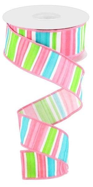 "1.5""X10yd Multi Width Horizontal Stripe Color: White/Pnk/Ice Blue/Grn"