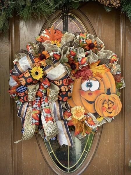 Fall Jack-O-Lantern Wreath