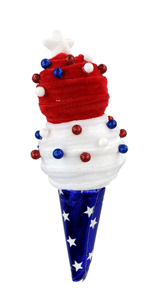 Ice Cream Cone Sm H13xW4 Red/White/Blue