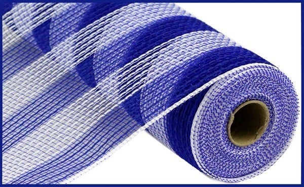 "10.5""X10yd Faux Jute/Pp Small Stripe Royal Blue/White"