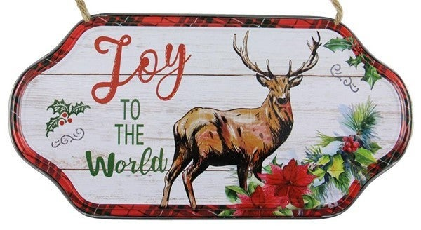 "12""L X 6.25""H Joy To The World/Deer Sign"