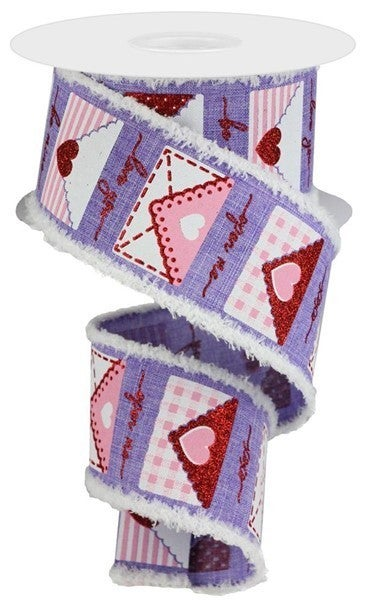 "2.5""X10yd Love Letters/Royal/Drift Lavender/White/Red/Pink"