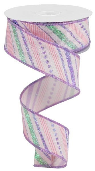"1.5""X10yd Multi Diagonal Stripes/Royal Color: Pink/Lt.Green/Lav/Lt.Pink"