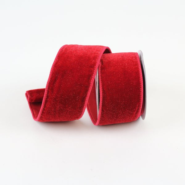 "DIAMOND DUST VELVET RIBBON - 4"" X 10YD / RED"