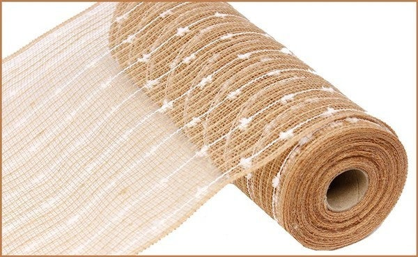 "10.5""X10yd Cotton Ball/Poly/Jute Mesh Natural/white"