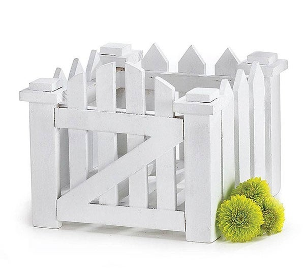 WHITE PICKET FENCE WOOD PLANTER