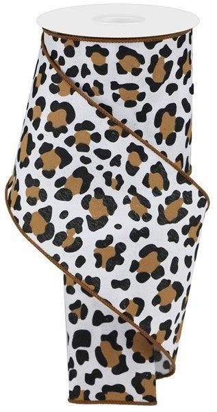 "4""X10yd Leopard Print/Faux Ryl Color: White/Black/Brown"