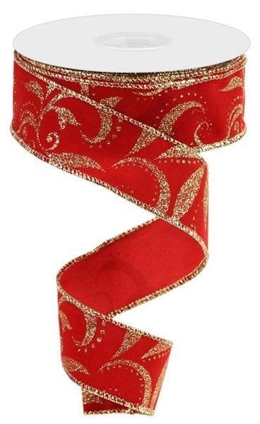 """1.5""""X10yd Glitter Scroll Velvet Red/Gold"""