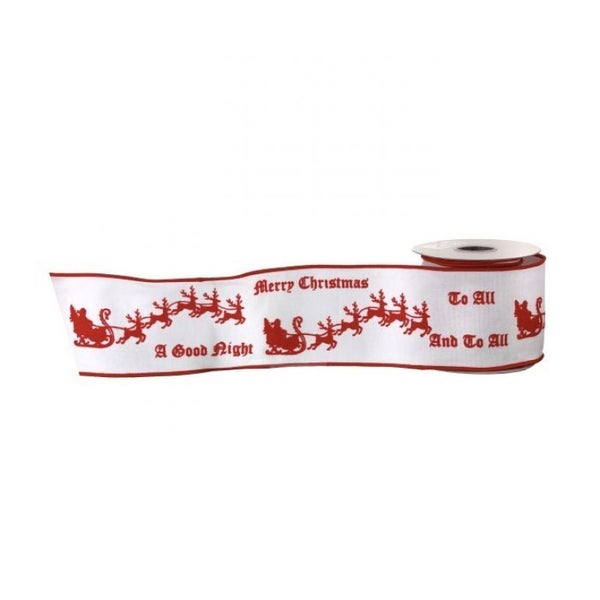 "4""X5Y FLOCKED SANTASLEIGH WIRED RIBBON (WHITE RED)"