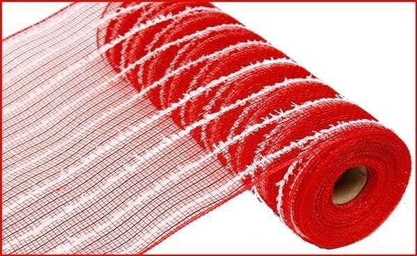 "10.5""X10yd Metallic Snowdrift Mesh Red/White"