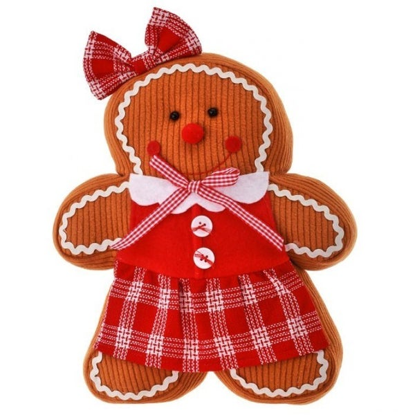 """12"""" FABRIC STANDING GINGERBREAD W/CHECK APRON"""