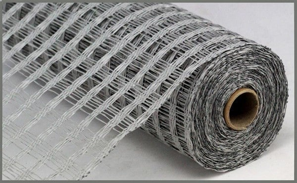 "10""X10yd Poly Burlap Check Mesh Grey"