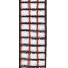"2.5"" x 10yds faux cotton plaid, black/orange/white"