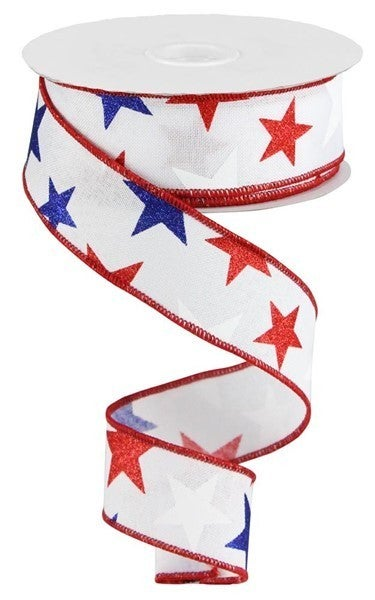 """1.5""""X10YD STAR ON ROYAL Color: White/Red/Navy"""