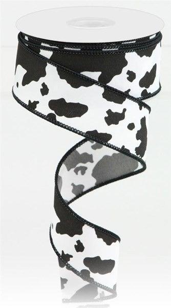 """1.5""""X10yd Cowhide Print Black/White"""