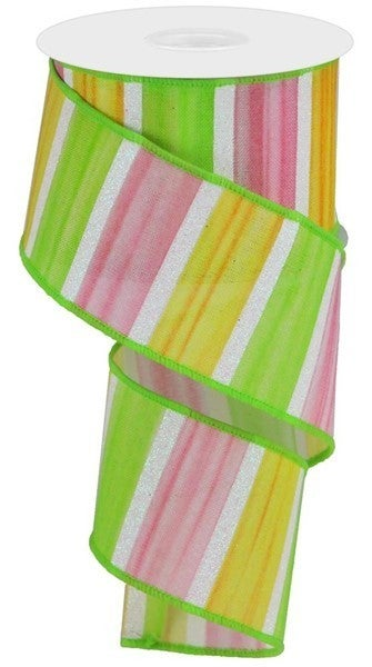 """2.5""""X10yd Watercolor Stripes/Royal Color: Yellow/Pink/Green/White"""